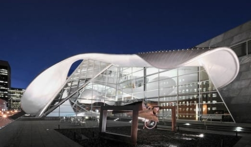 Photo shows the outside of the Art Gallery of Alberta upper deck
