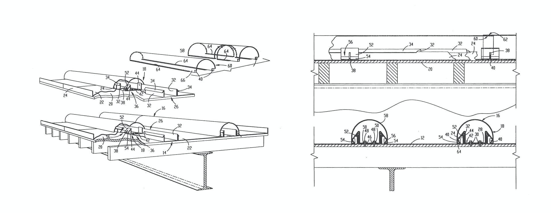 ZAHNER PATENT IMAGES FOR IMPROVED BOLD BATTEN ROOF SYSTEM.