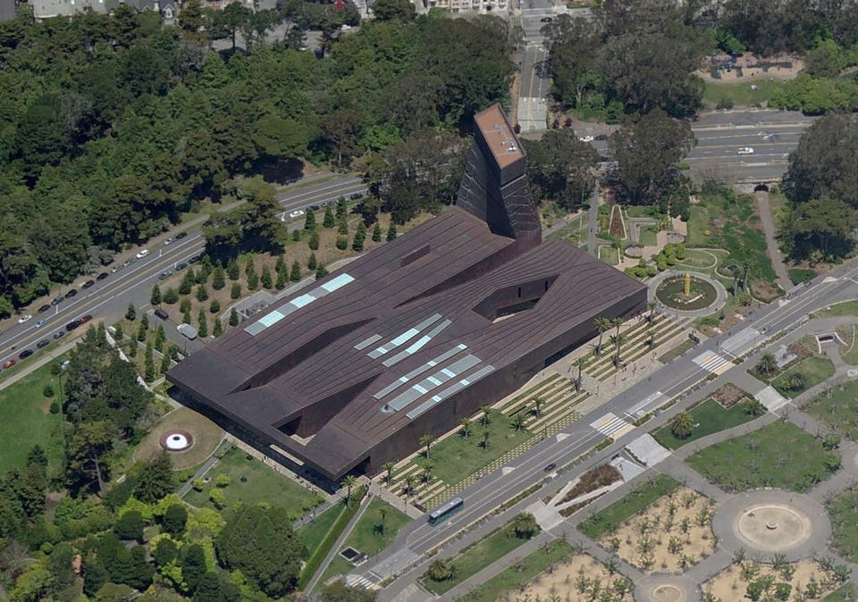 THE DE YOUNG MUSEUM IN SAN FRANCISCO. ZAHNER OWNED THE ENTIRE EXTERIOR COPPER SKIN AND GLAZING.