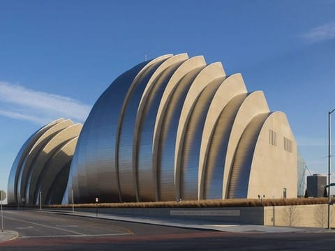 INVERTED SEAM ROOF ON KAUFFMAN CENTER.
