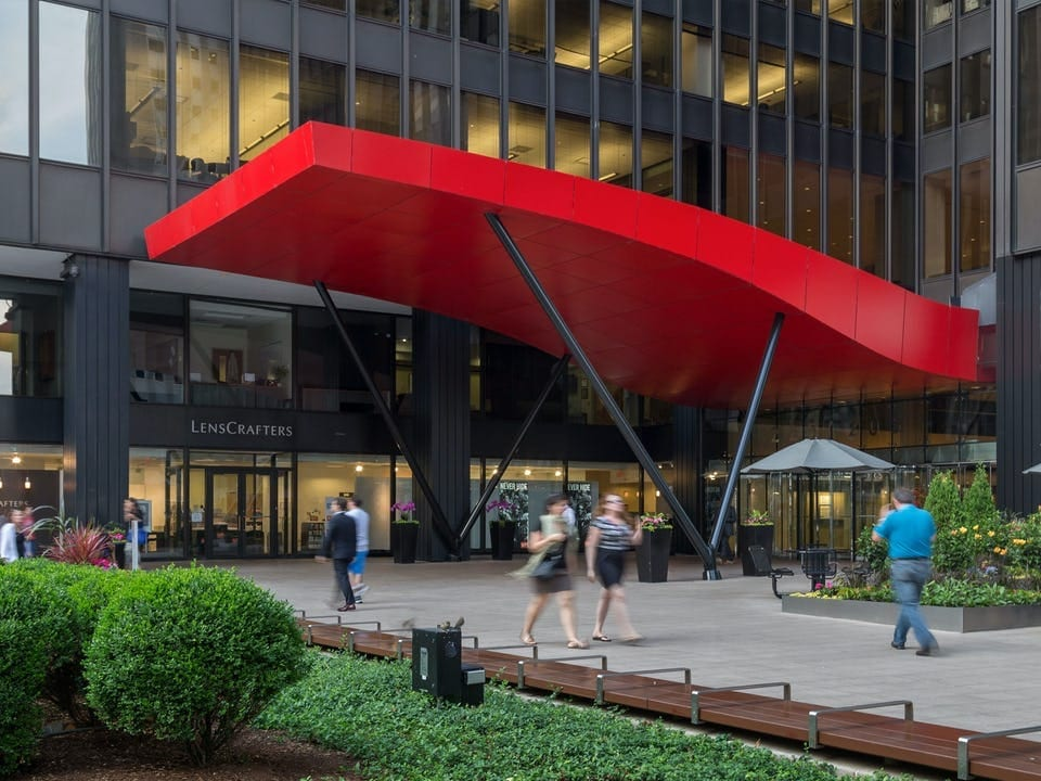 RED PAINTED CANOPY FOR MICHIGAN AVENUE PLAZA, CHICAGO.