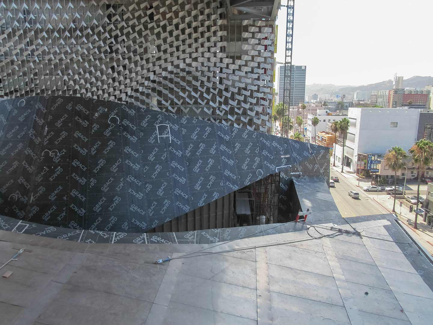Photograph showing both the ZEPPS forms as well as the generative facade design.