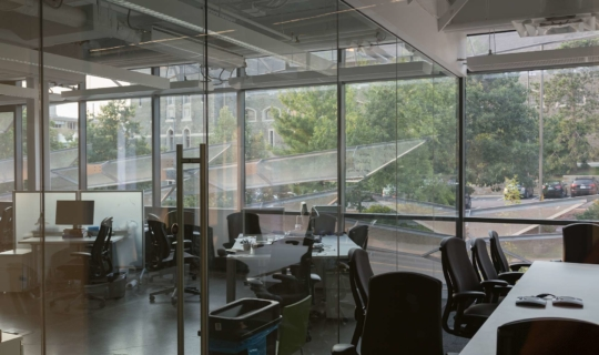 Metal panel system provide the building's offices with natural light and shading.