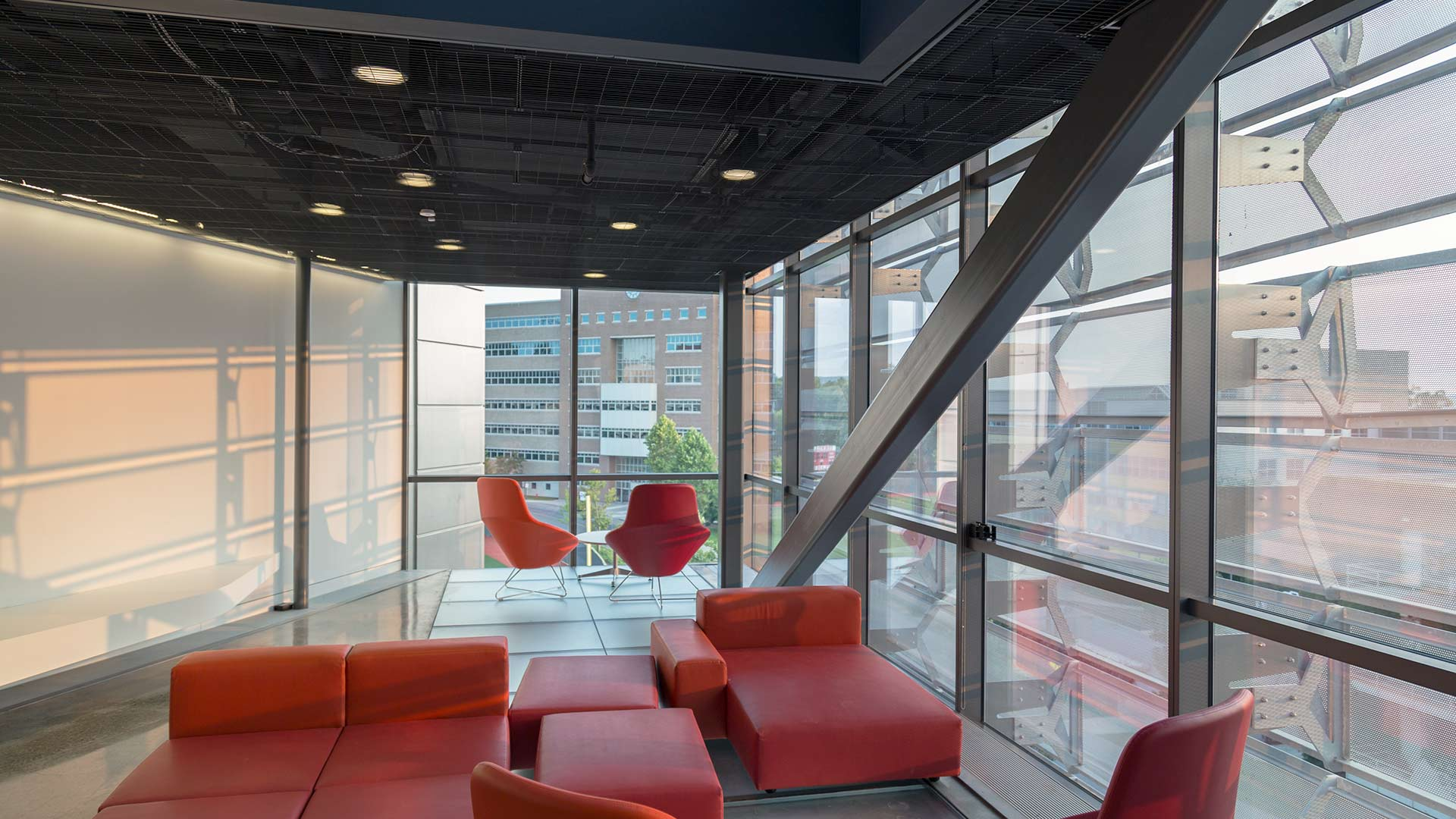 Student Lounge at Gates Hall, shaded by the perforated panel system by Zahner.