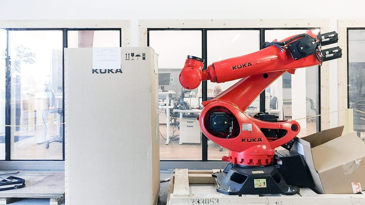 Ruby, a Kuka robot, resides in the Zahner R&D Shop.