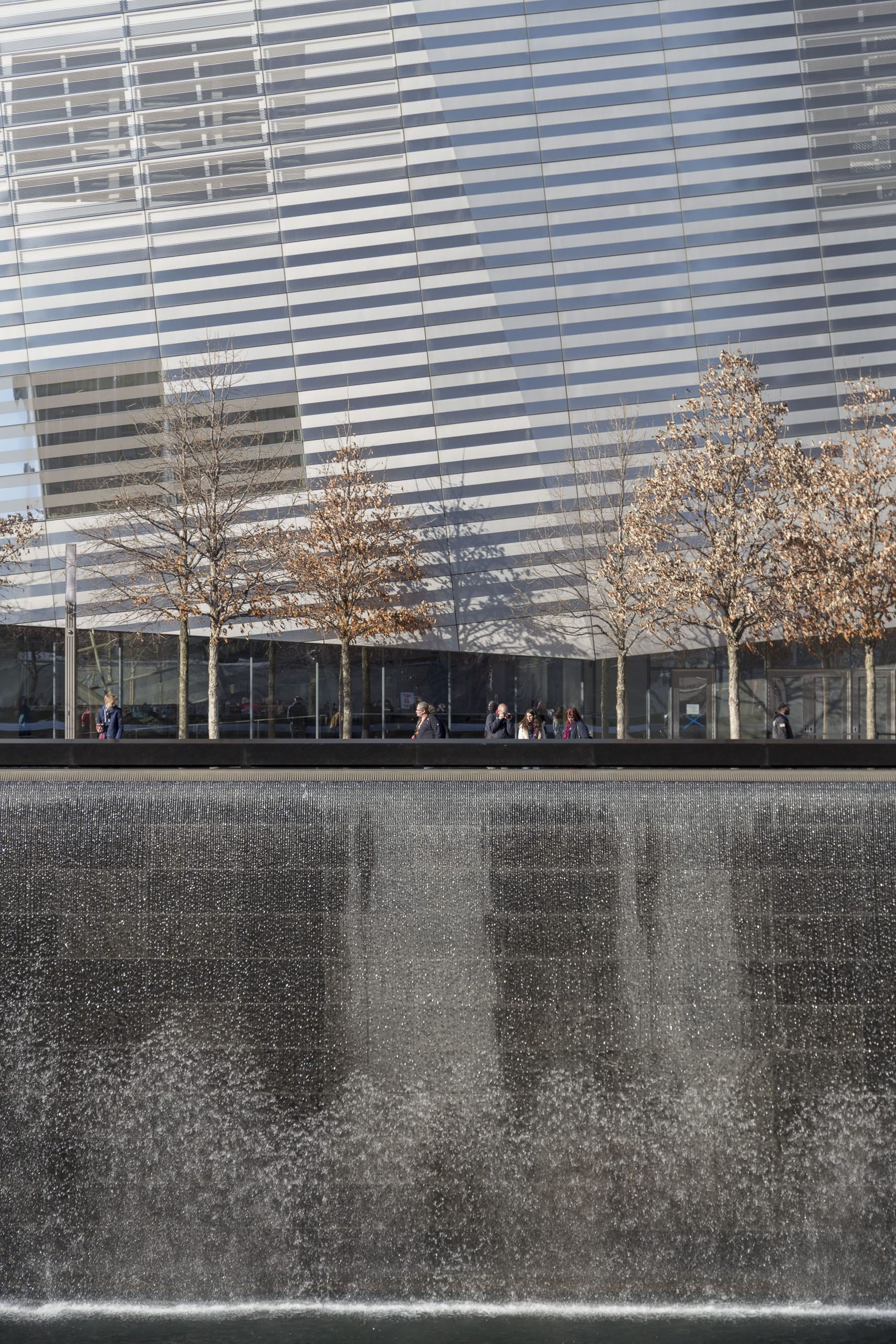 911 Museum with waterfall at the WTC Memorial.
