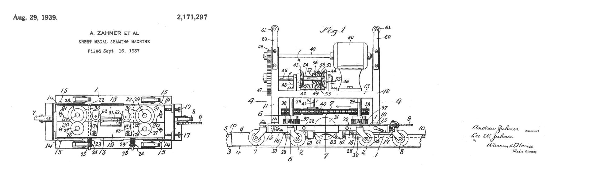 PATENT FOR THE SHEET METAL SEAMING MACHINE