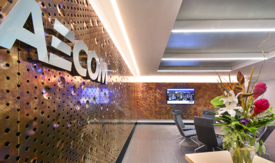Detail of the AECOM Reception area interior metal panels