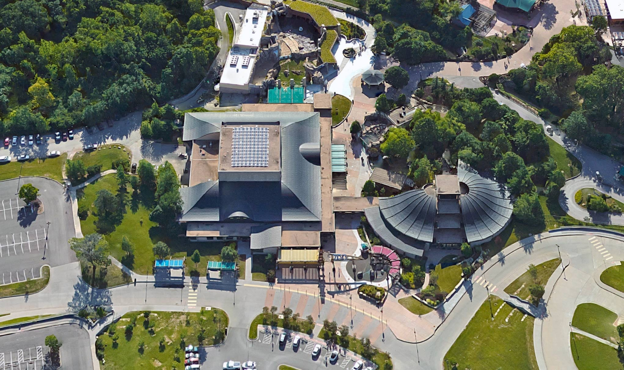 Aerial imagery of the Deramus entrance pavilion at the Kansas City Zoo.