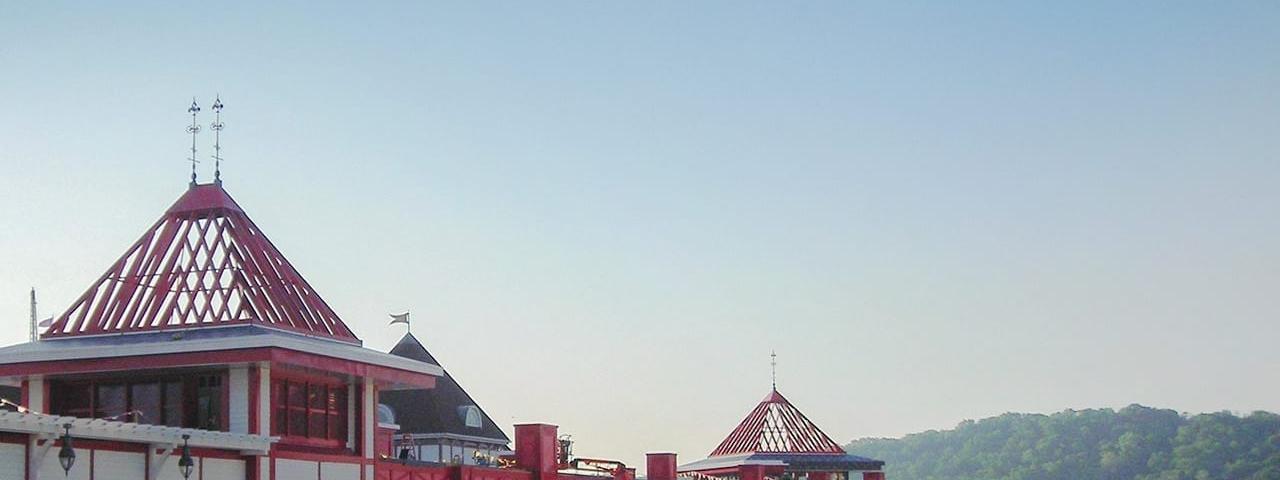Red metal custom cupola turrets in Lawrenceburg