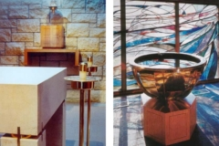 Details of the custom brass baptismal altar and candle holders