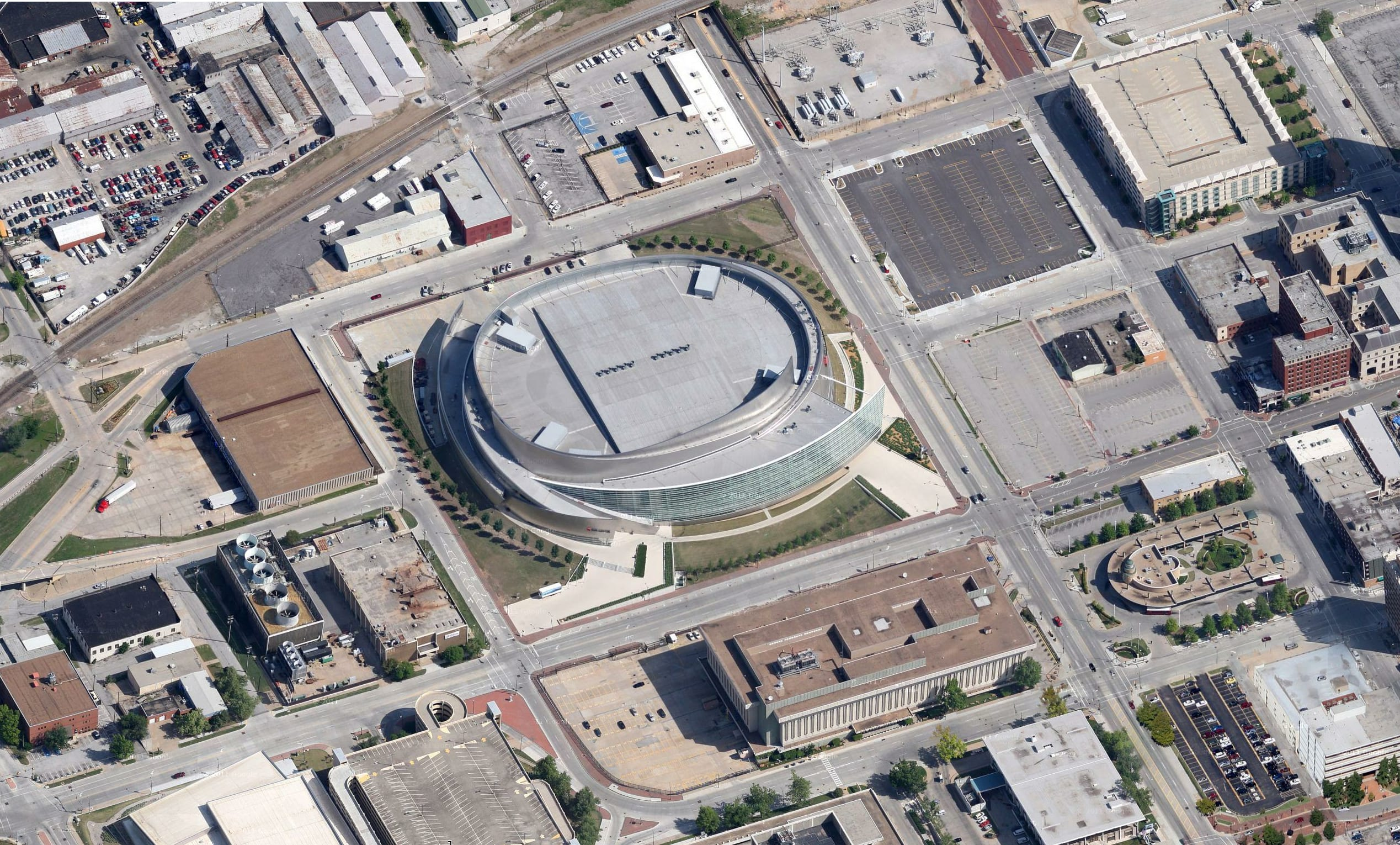 Aerial photo of BOK Center in Oklahoma.