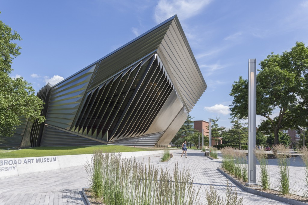 A detail of the perforated and folded metal origami of the Broad Museum.
