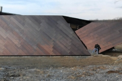 Zahner Field Operator stands in front of the Residence in Connecticut designed by Studio Daniel Libeskind.