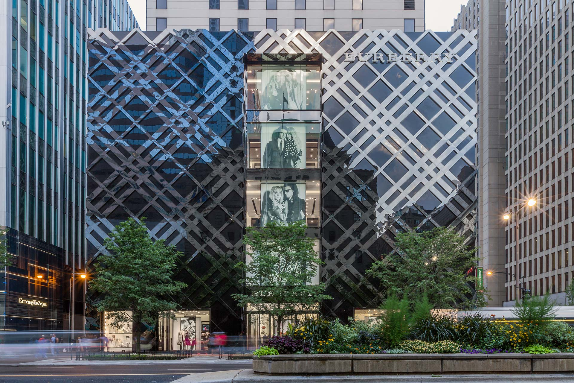 Zahner produced the complex facade for the new Burberry Flagship in Chicago, a deep-set fully developed facade integrated with exterior lighting systems.