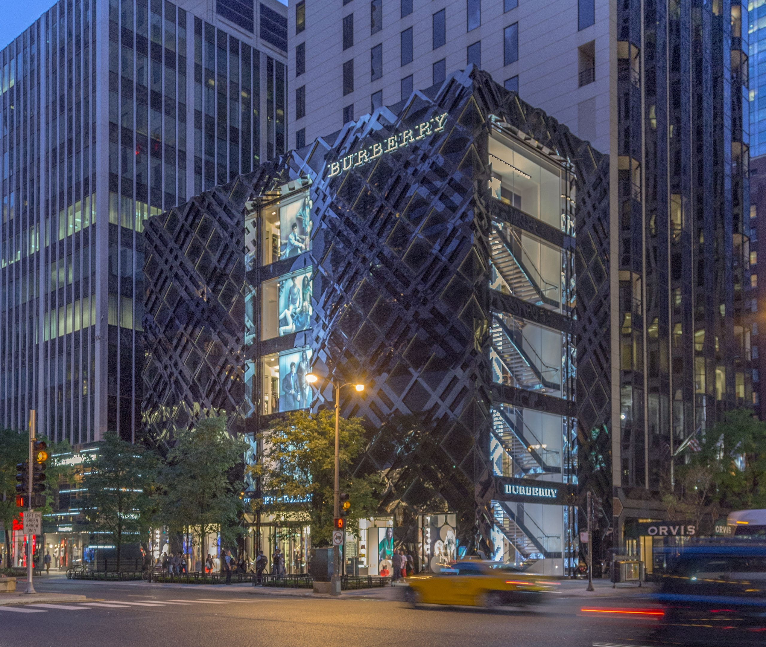 Burberry Chicago Flagship at night.