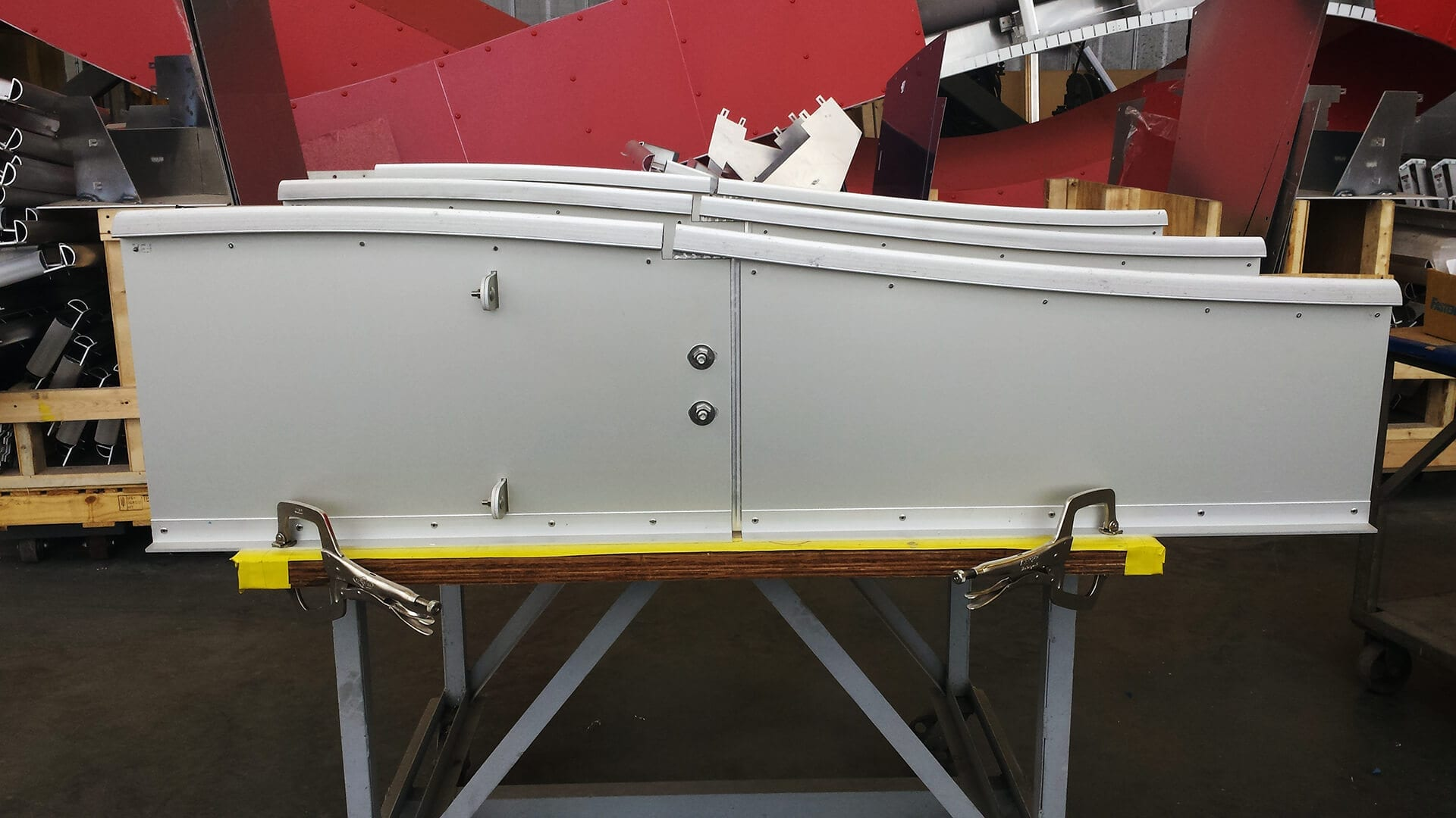 Mockup showing the connection between two vertical fins for Cedar Kettner.