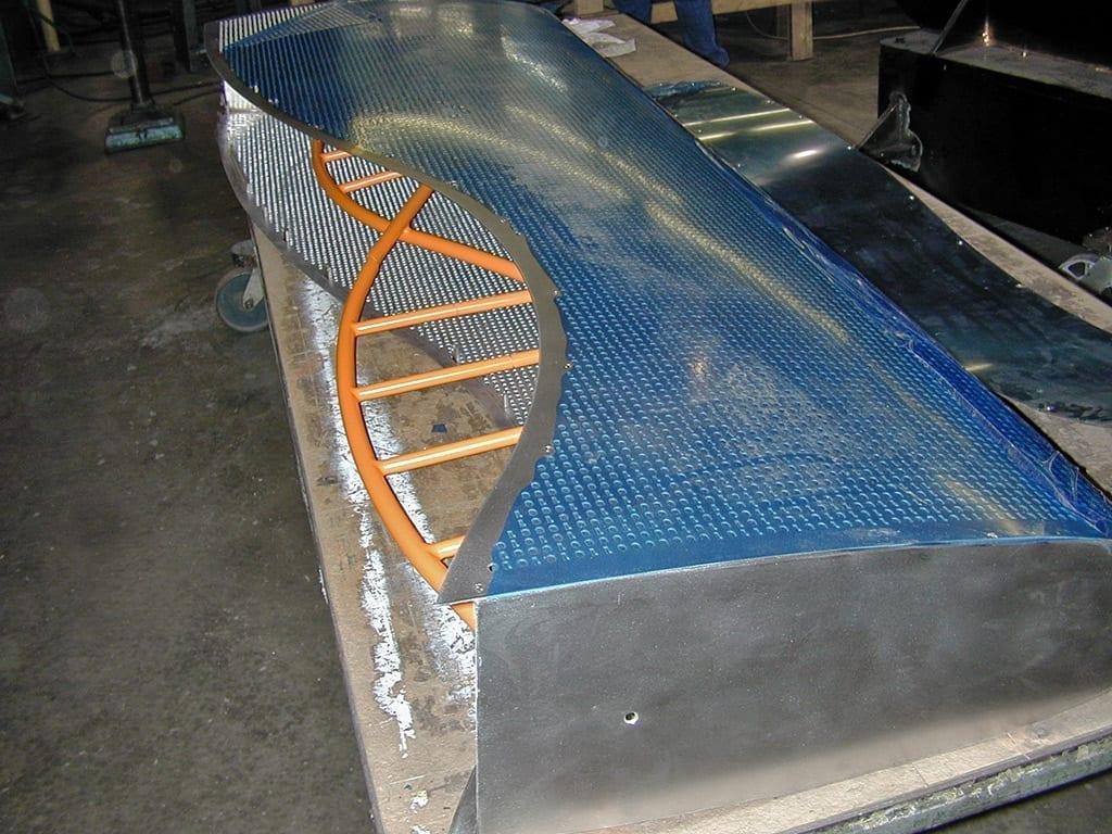 Cerner signage during fabrication at Zahner .