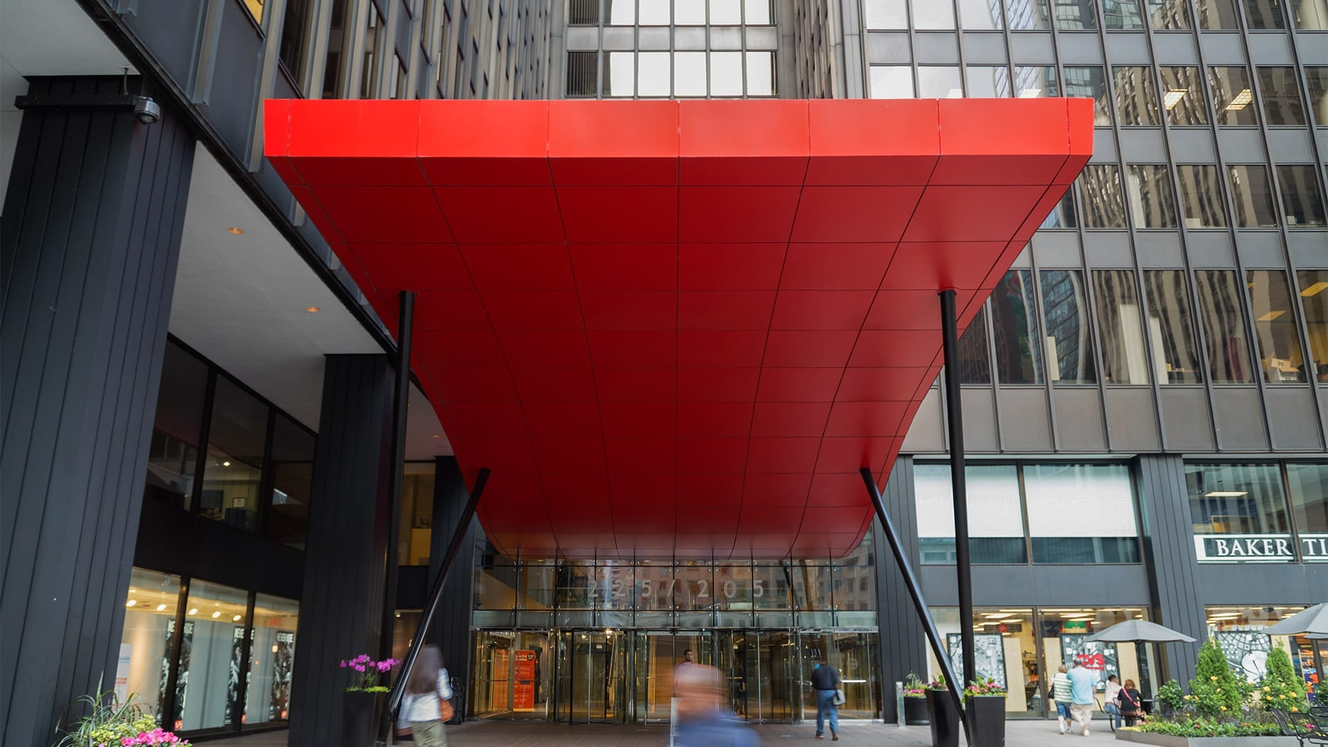 View of the red painted aluminum canopy from Michigan Avenue in Chicago.
