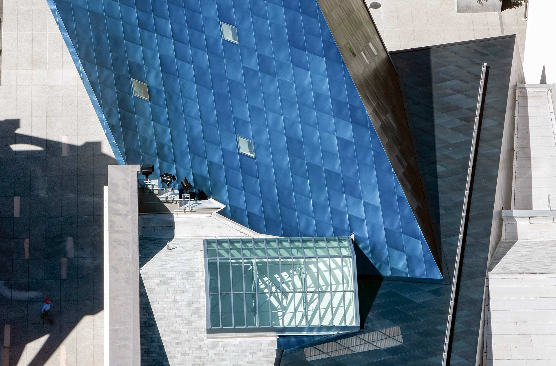 Aerial view of the blue metal panels on the Contemporary Jewish Museum in San Franicsco.