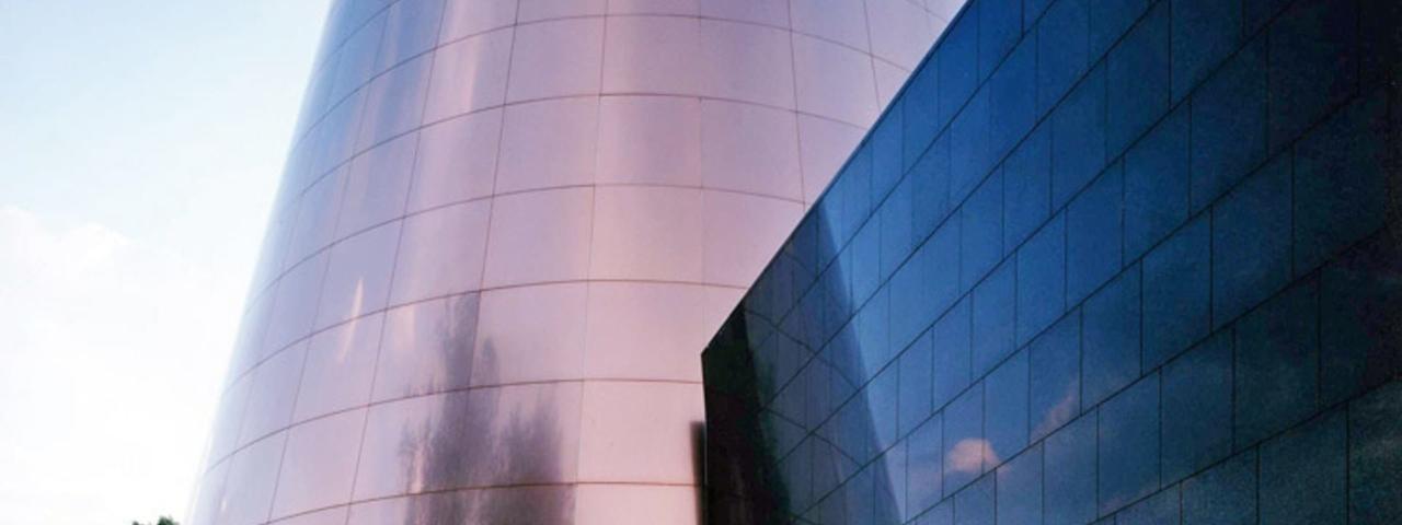 Shafran Planetarium at dusk.