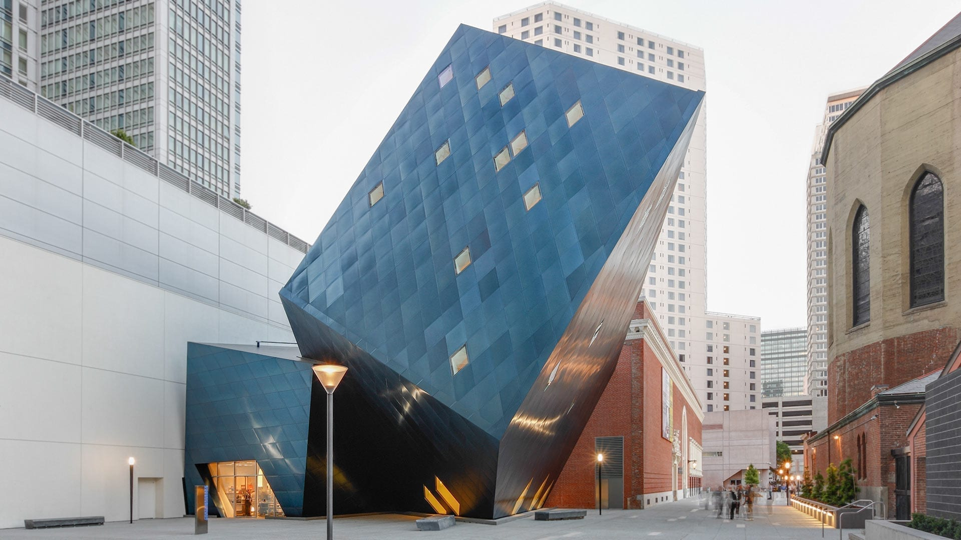Detail of the blue panels on the Contemporary Jewish Museum.