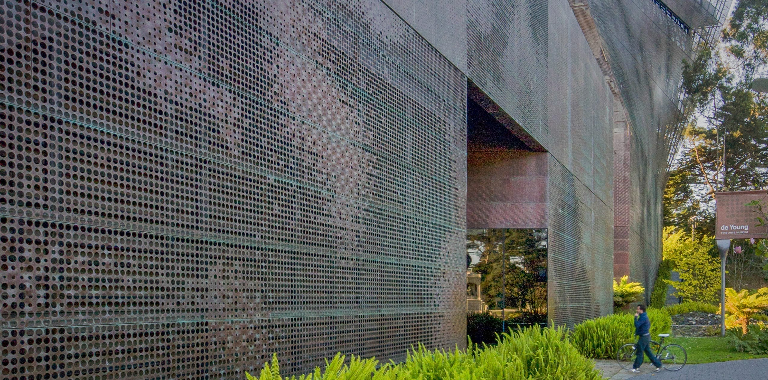 The de Young Museum in California, early example of digitally defined picture perforated metal.