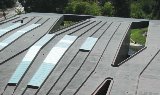 Aerial view of the de Young Museum roof.