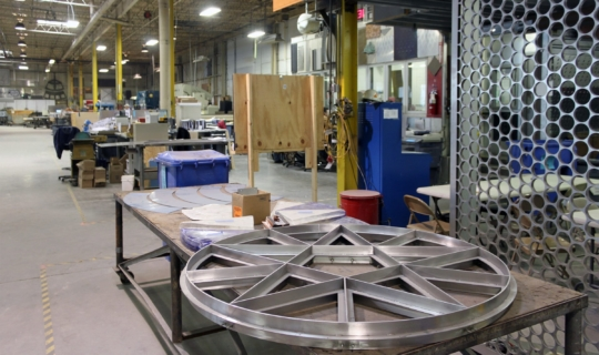 The metal base for the inset glass at Zahner HQ in Kansas City