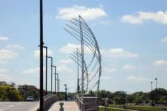 Stainless steel sail towers at the Lewis Street Bridge.