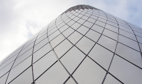 Detail of the reveals between diamond panels on the Museum of Glass