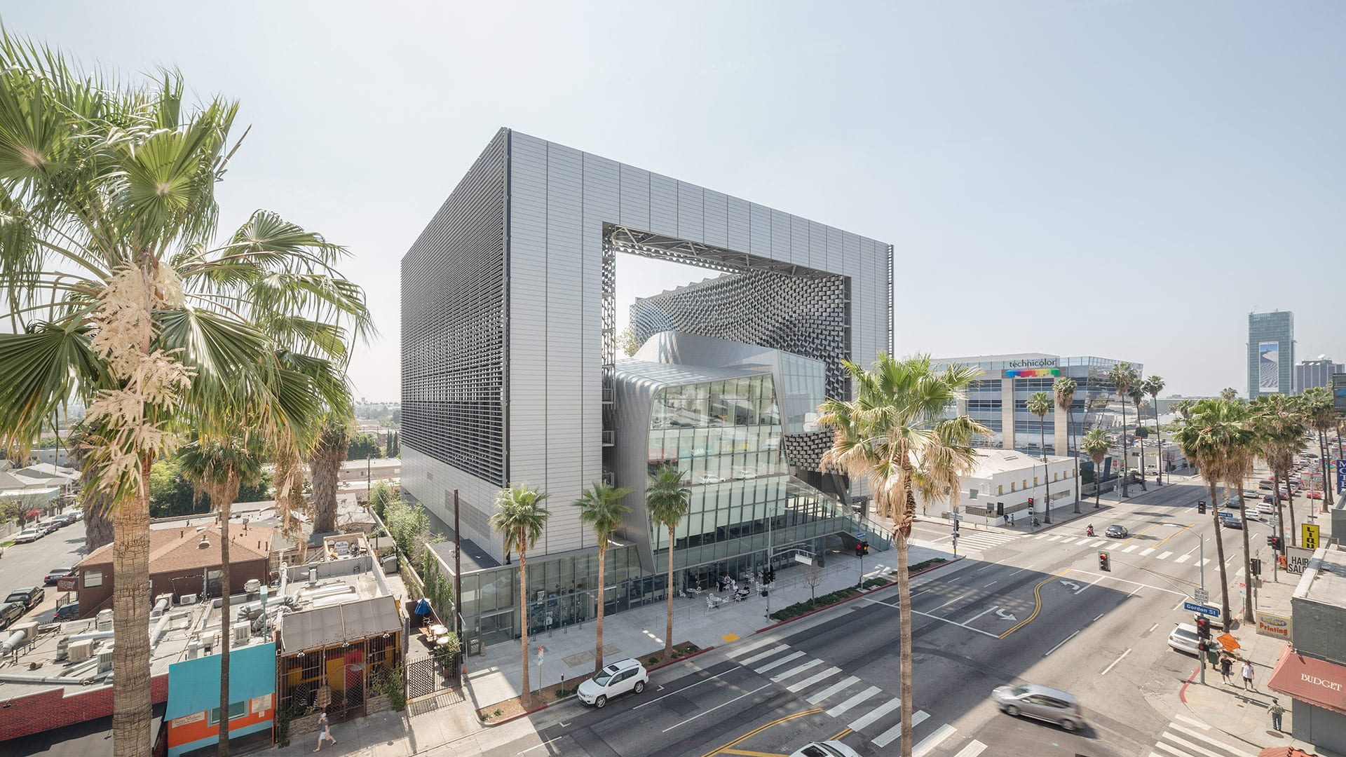 View of Emerson College at Los Angeles from across Sunset Boulevard.