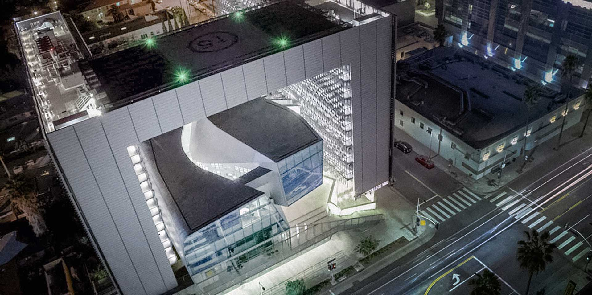 Photograph of the Emerson LA Campus at night.