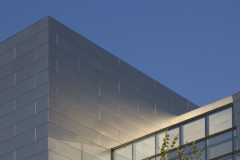 Detail of the stainless steel facade for Eugene Federal Courthouse.