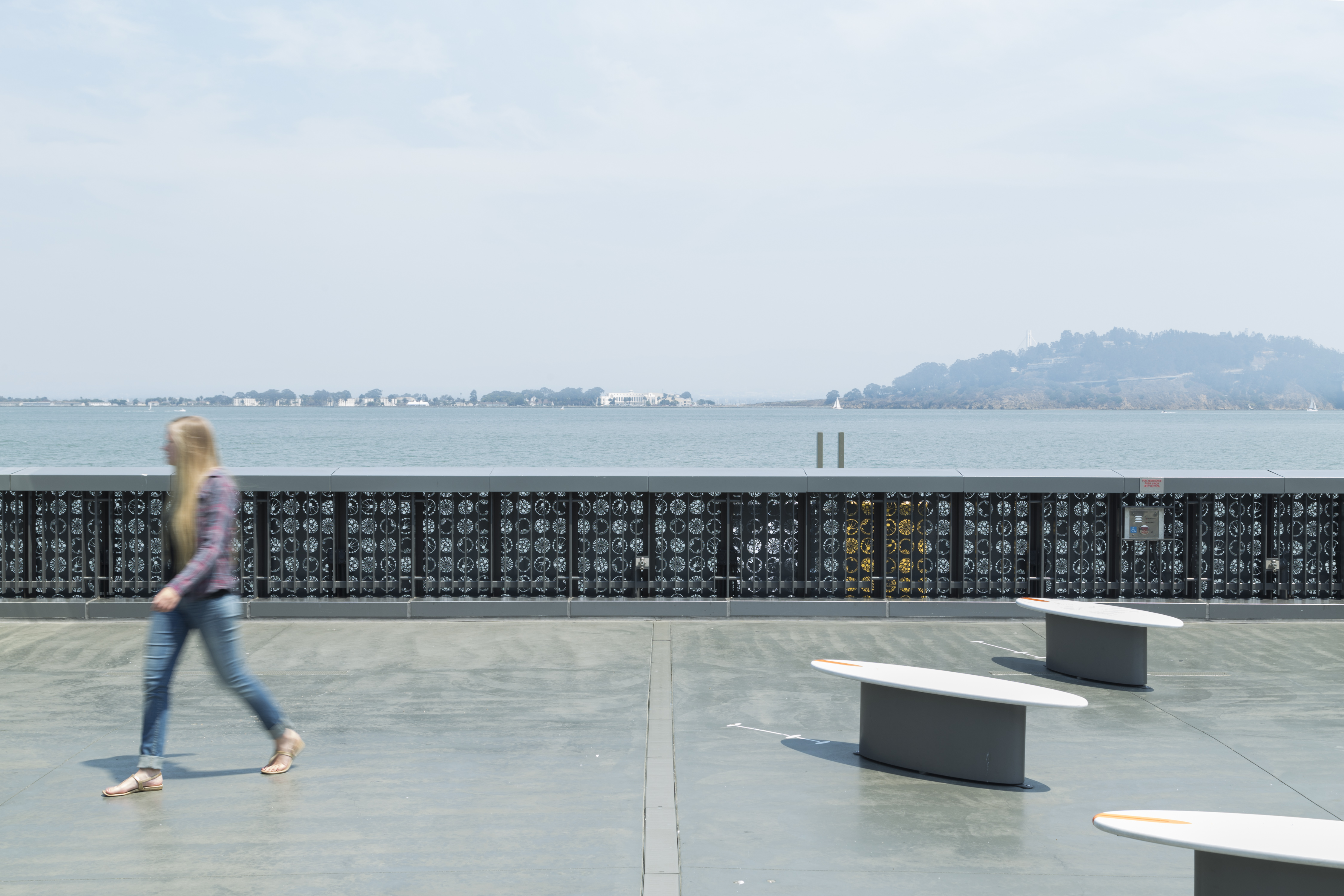 View of the Plankton Wall from the Bay Observation Terrace at the Exploratorium.