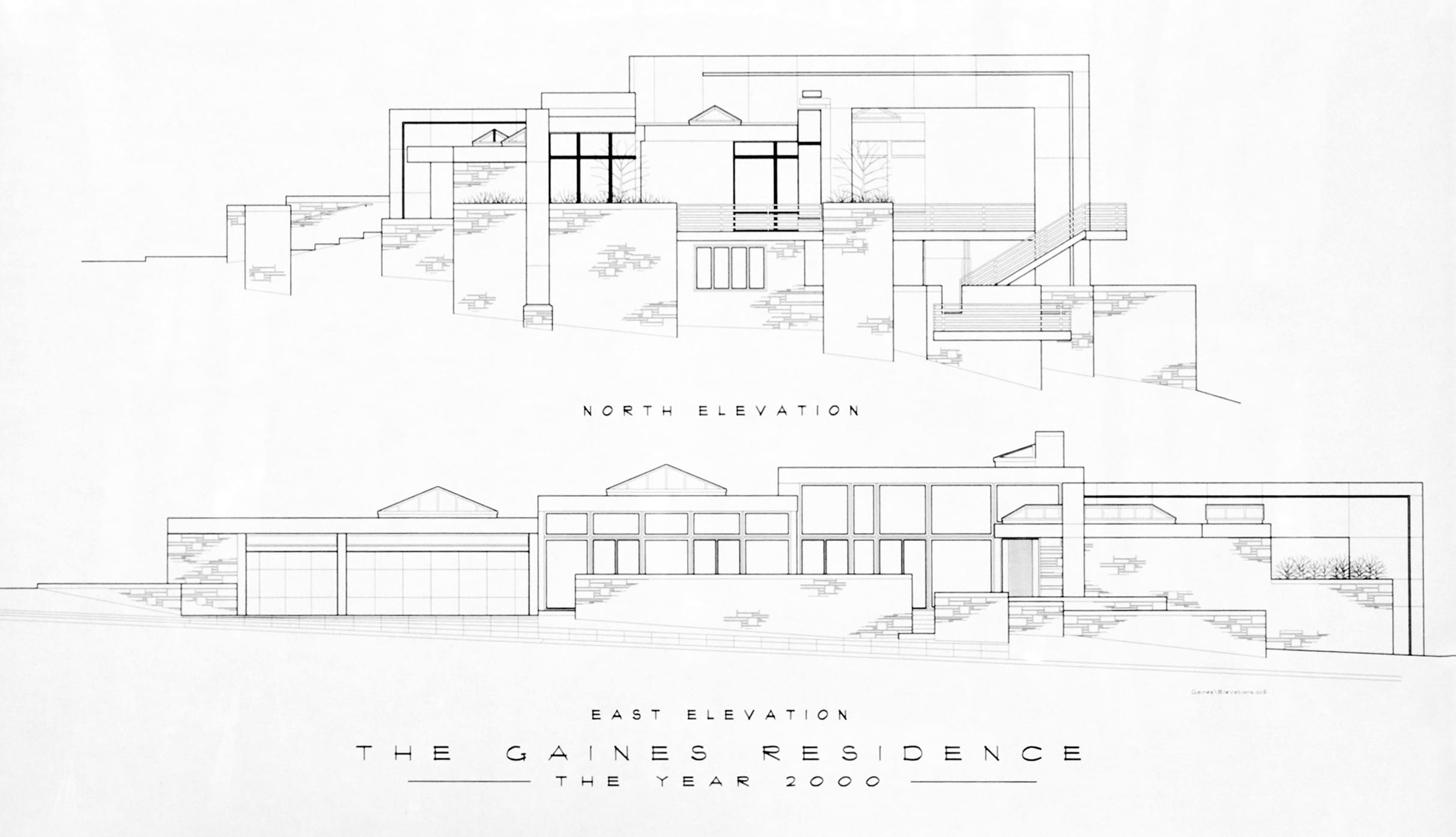 Architect's drawings of the Gaines Residence show north and east elevation