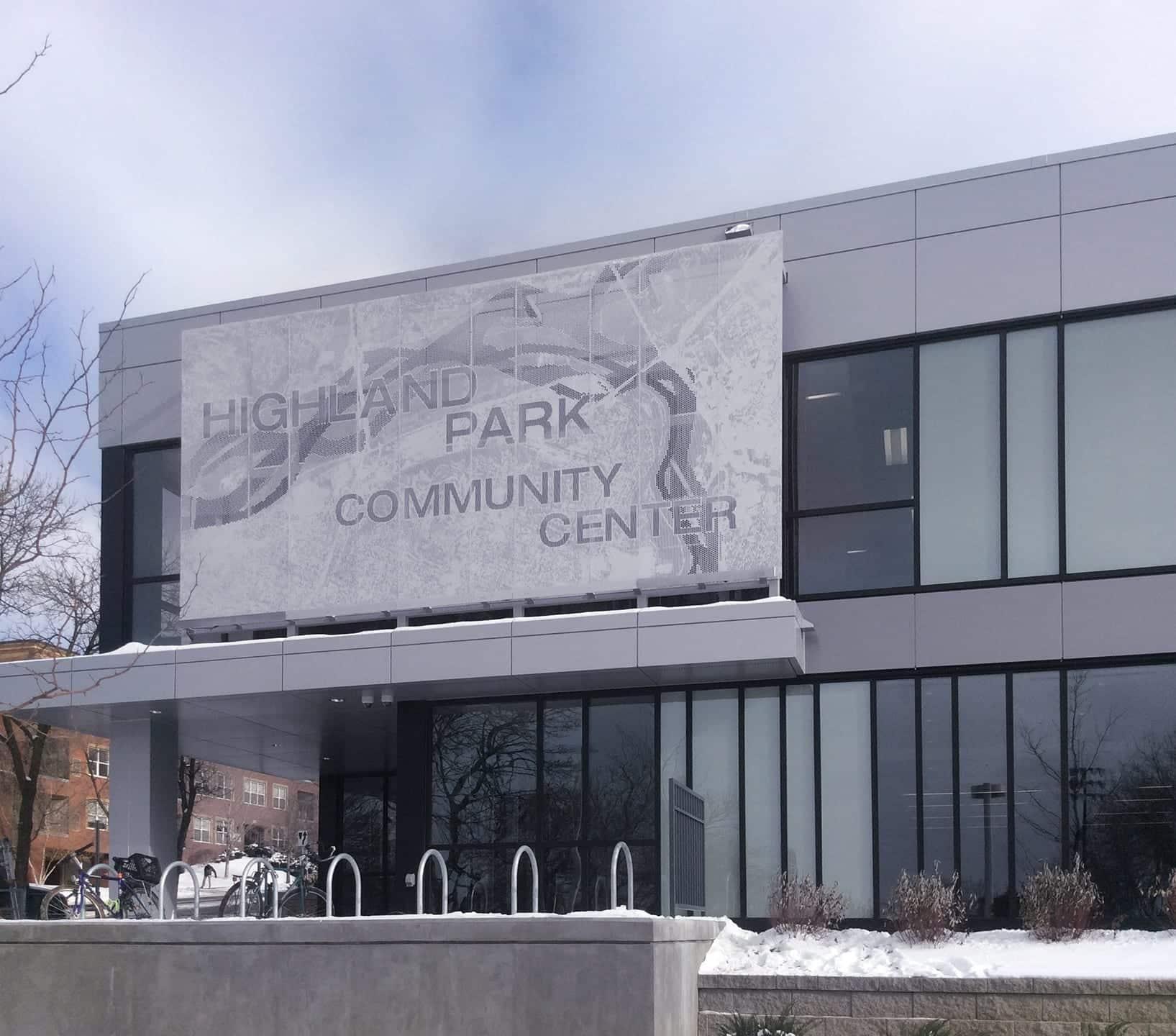 Highland Park Community Center Signage.