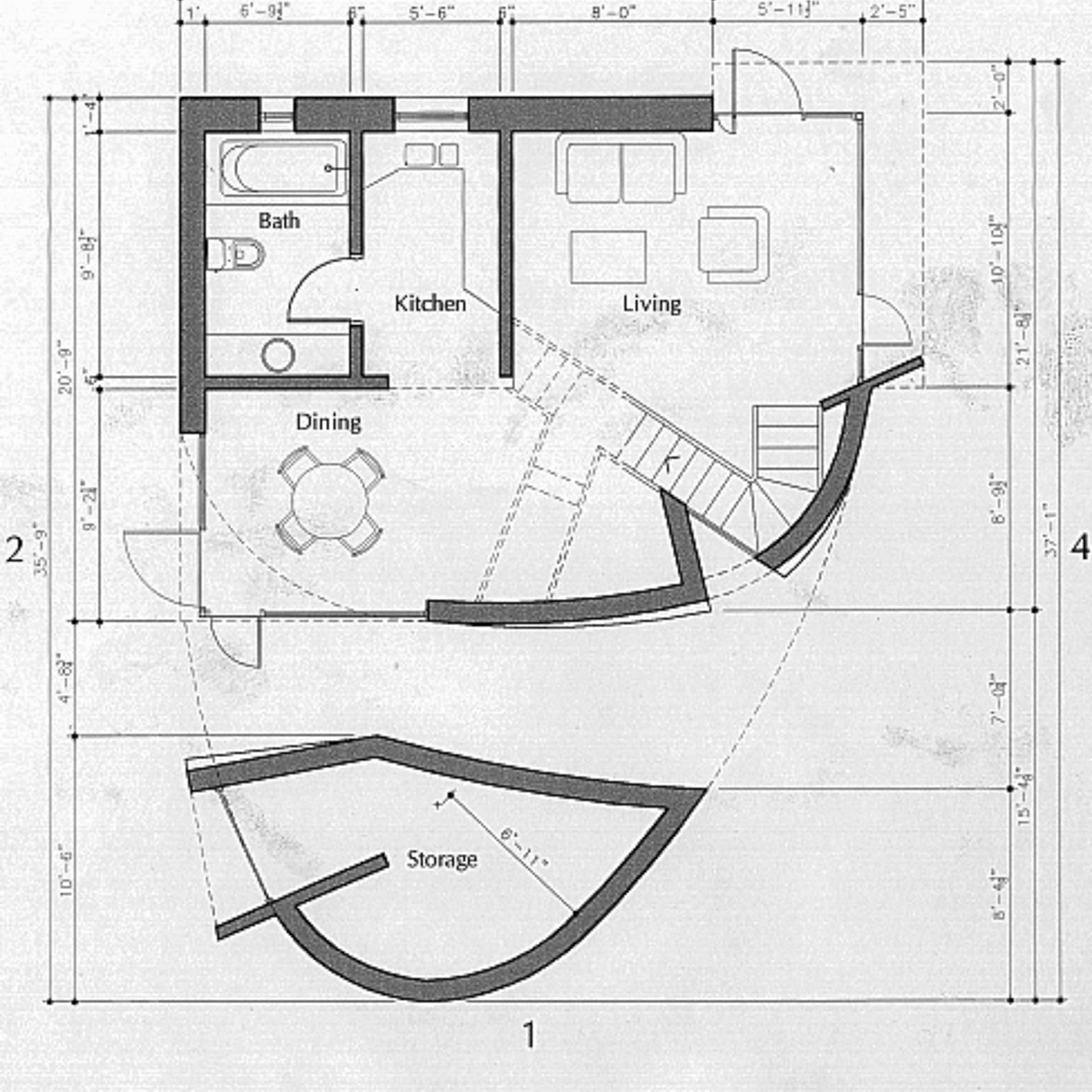 Drawings of the Turbulence House.