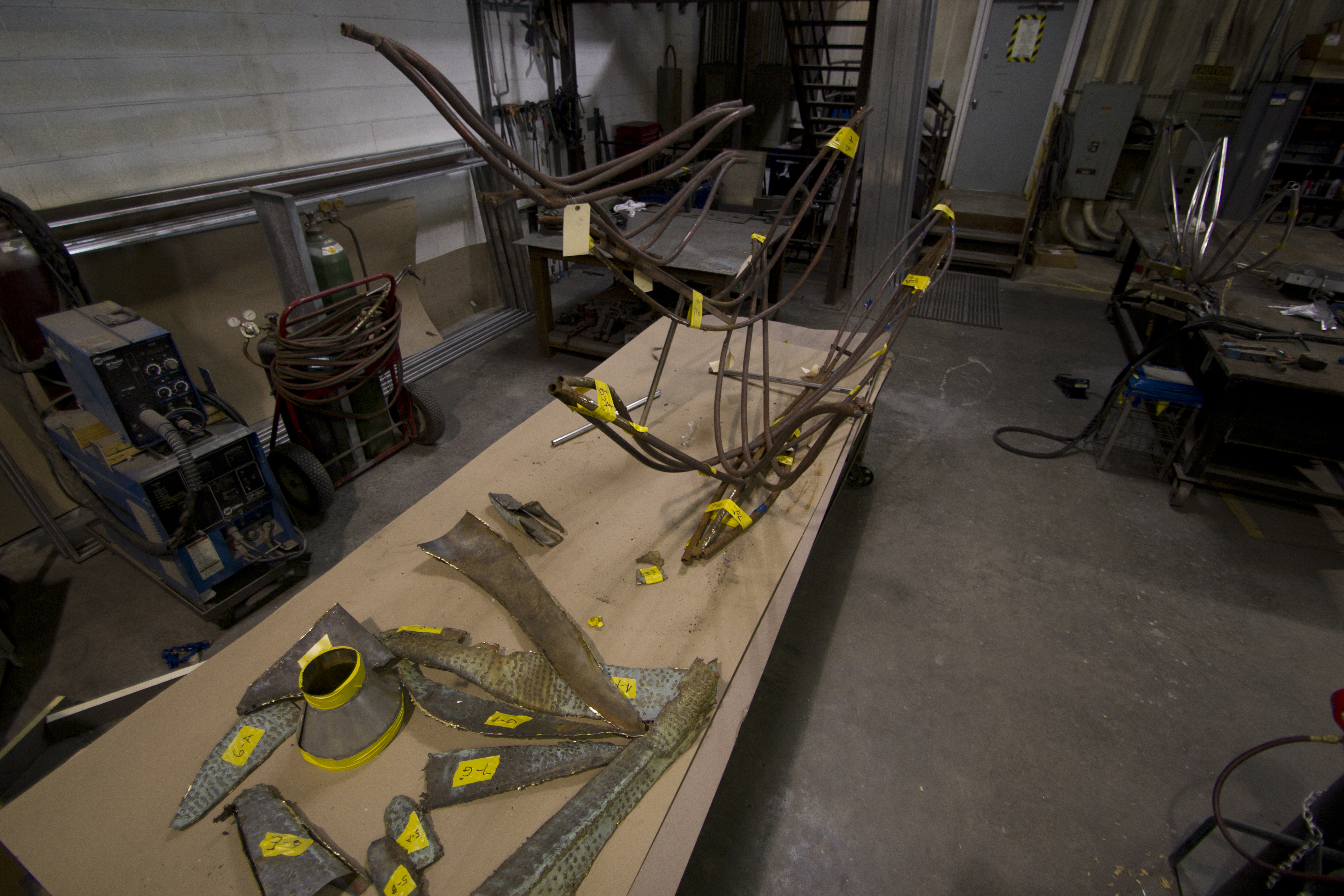 Original copper and steel parts for the <i>Birds in Flight</i> sculpture.
