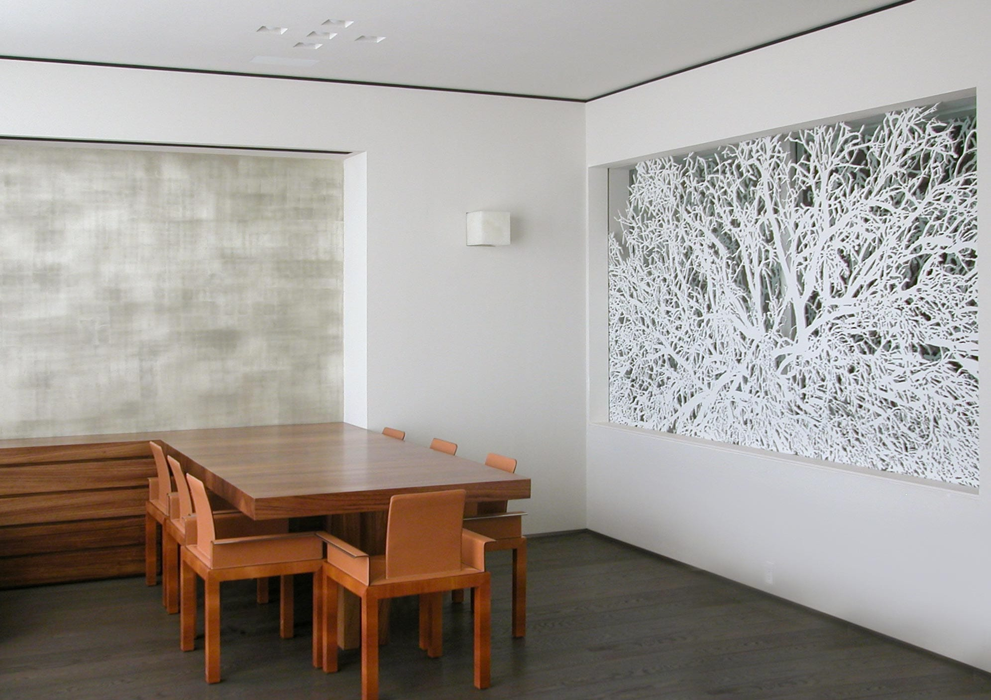 Interior installation of the metal feature wall, completed in New York City.