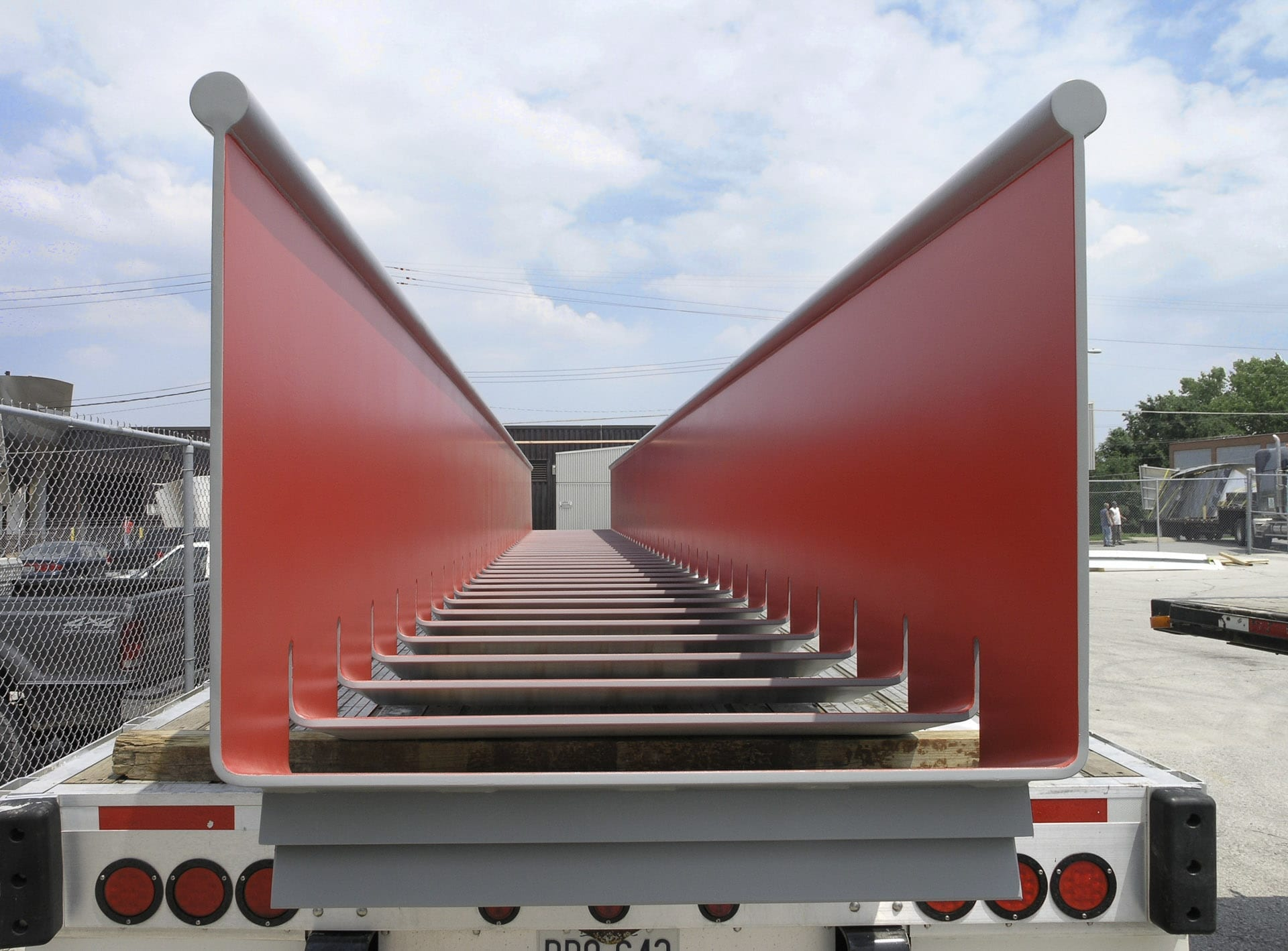 Custom staircase loaded on a truck to be shipped to Juilliard School in New York City.