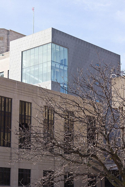 Interior and exterior zinc metalwork at the Kansas City Police Department Headquarters.