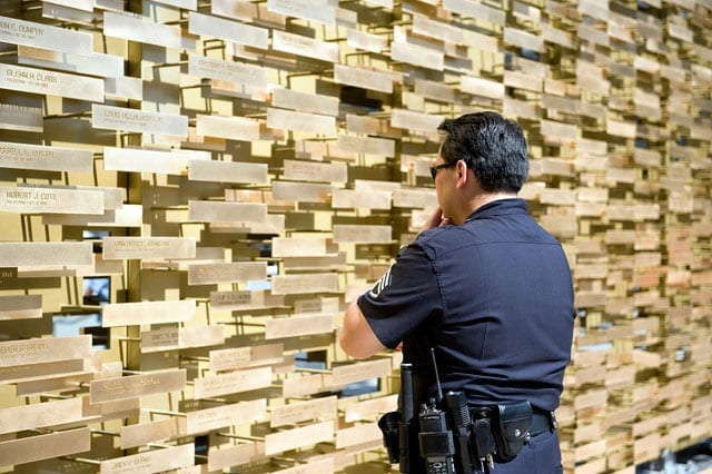 Los Angeles Police Officer sees the LAPD Memorial for the first time during its arrival.