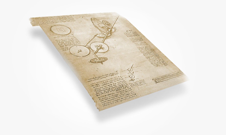 Rendering of Leonardo da Vinci rolling milll, ca. 1515 CE.