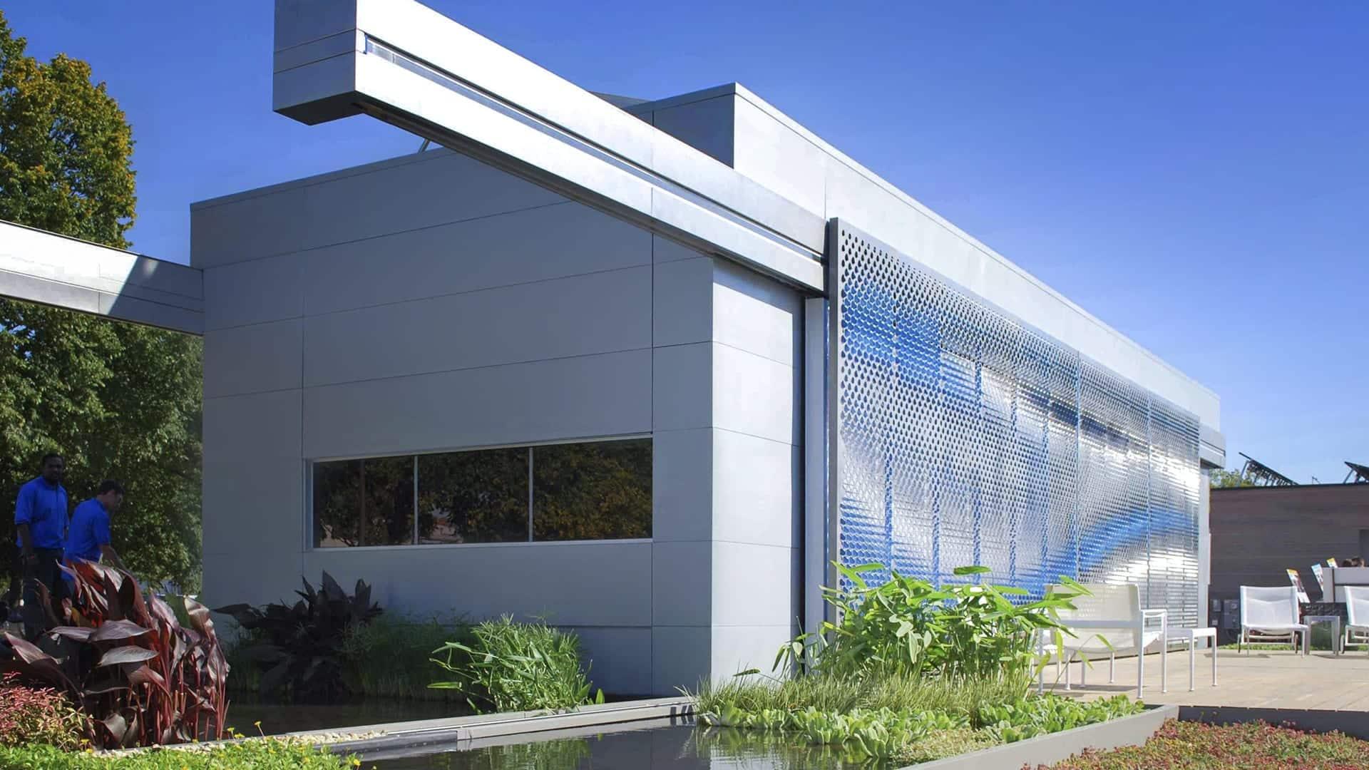 Photograph of the Lumenhaus facade for Virginia Tech.
