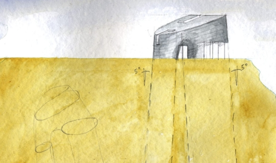 Steven Holl watercolor painting of the Turbulence House.