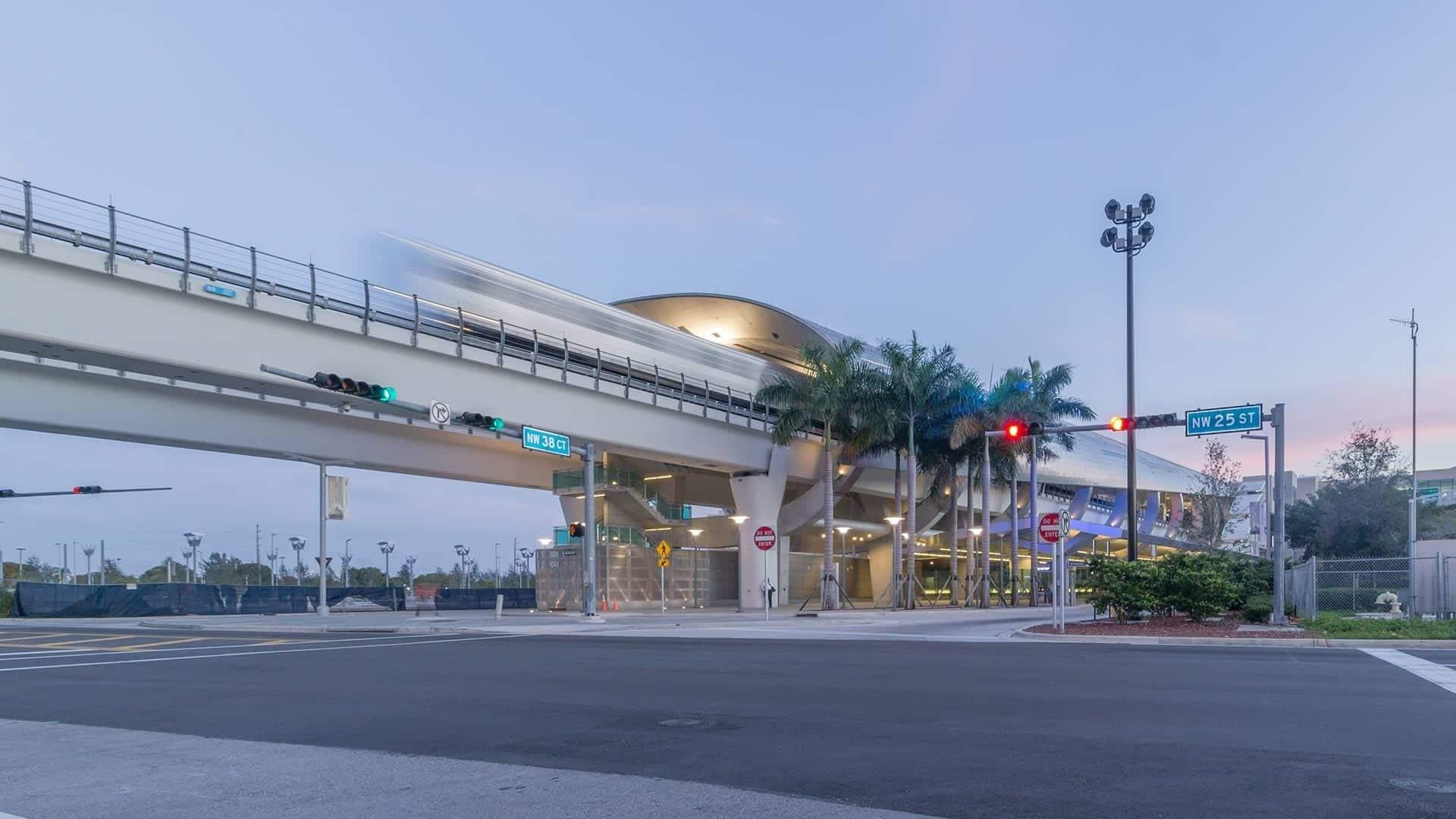 Photograph of a train leaving the Miami Intermodal Center.