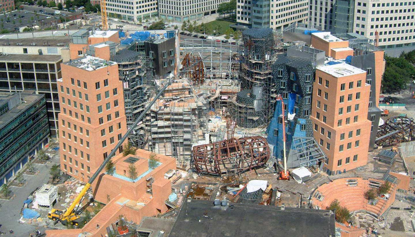 Aerial photograph of MIT Stata Center during construction.