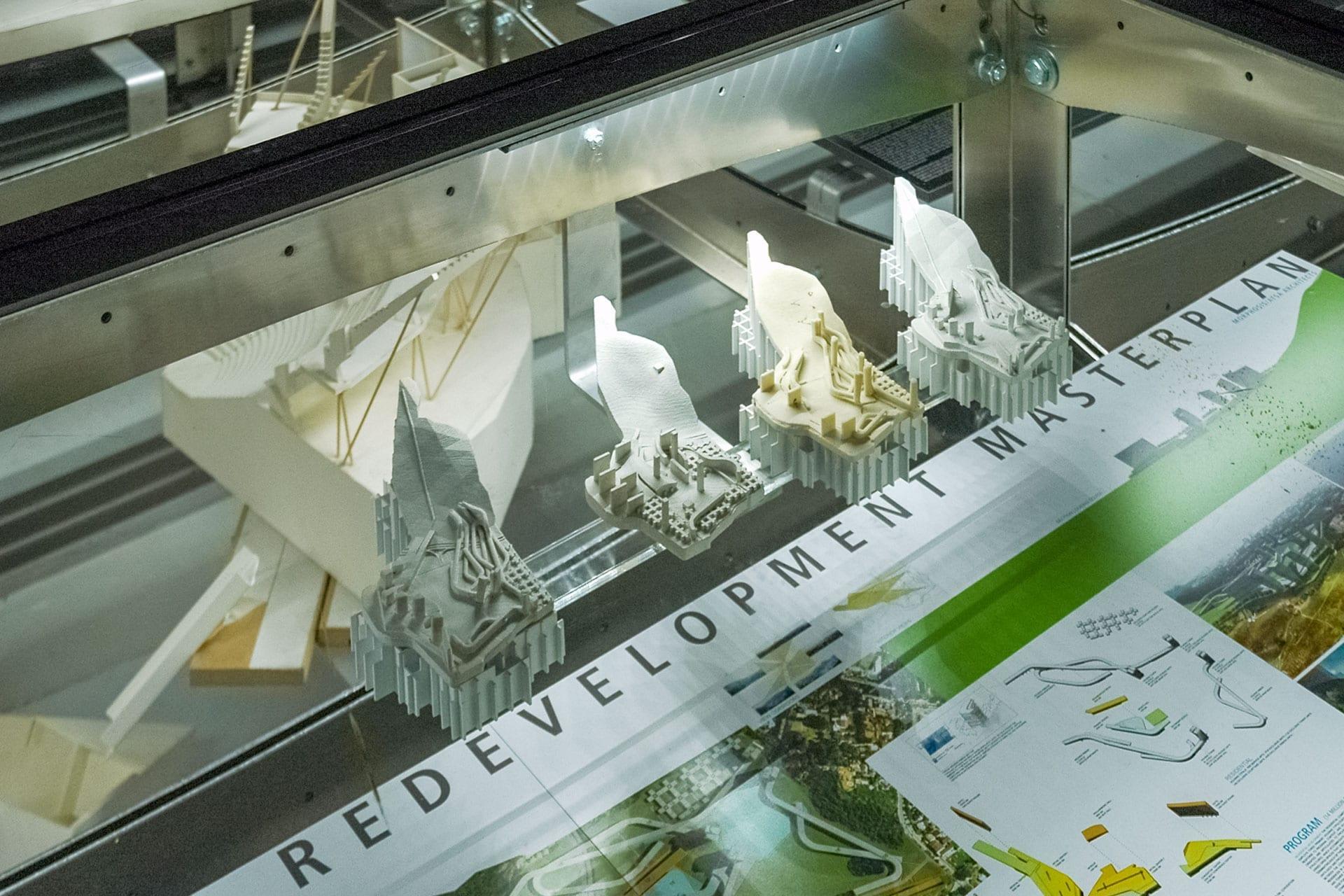 Various exhibit materials displayed underneath the raised floor.