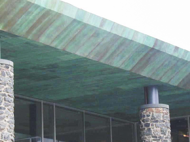 Custom patina on copper canopy